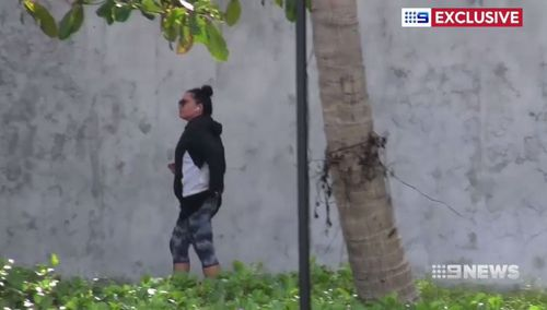 Corby was spotted jogging around the island. (9NEWS)