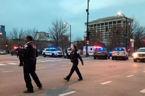 Police locked down the area surrounding Mercy Hospital in Chicago after the shooting rampage.