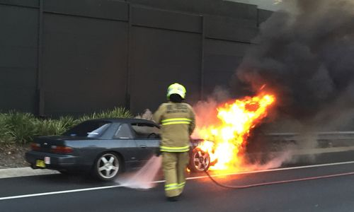 Car fire on M5 at Riverwood causing westbound traffic delays
