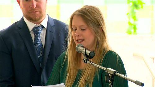 Her sister Emily delivered an emotional eulogy.