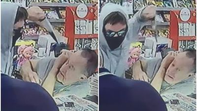 Terrifying knife-point robbery caught on camera