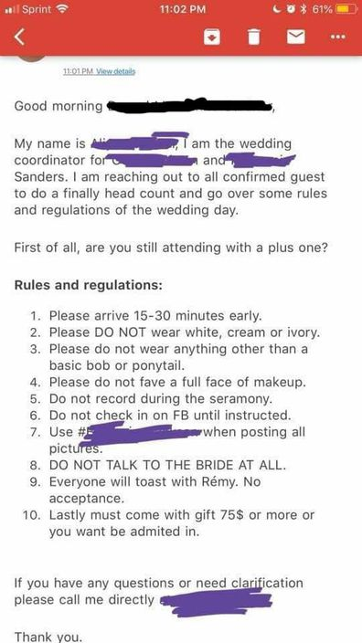 The list was sent to all the guests
