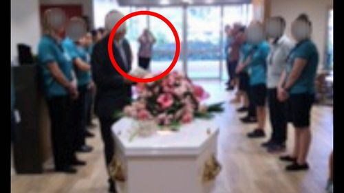 A senior nurse was seen photographing Lottie's coffin at her funeral.