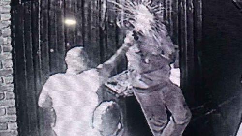 Mecal Hansen being capsicum sprayed by police.