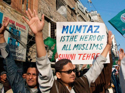 A file photo from 2011 showing supporters of Mumtaz Qadri.