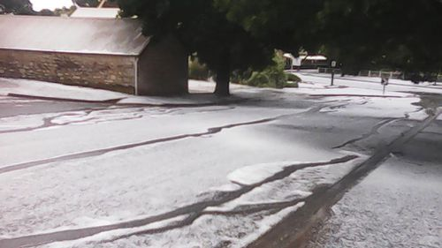 Hail lined the roads in part of South Australia this week.