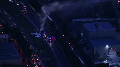The truck fire has caused long delays on the M5 East heading into the western suburbs. Picture: 9NEWS