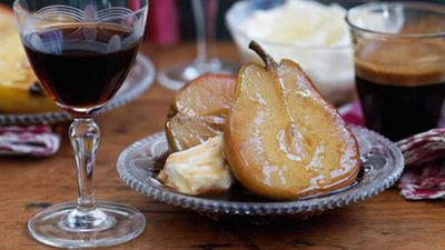 "Recipe:&nbsp;<a href=""http://kitchen.nine.com.au/2016/05/16/17/44/baked-pears-with-marsala"" target=""_top"">Pears with Marsala</a>"