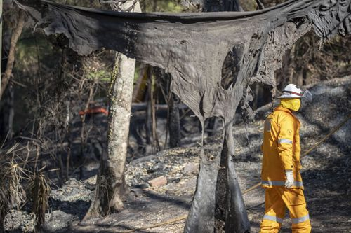 Members of the Queensland Fire Brigade put out spot fires at Binna Burra Road, Beechmont where ten homes were lost to the fires