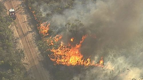 The fire has ripped through 2500 of land in Sydney's southwest. (9NEWS)
