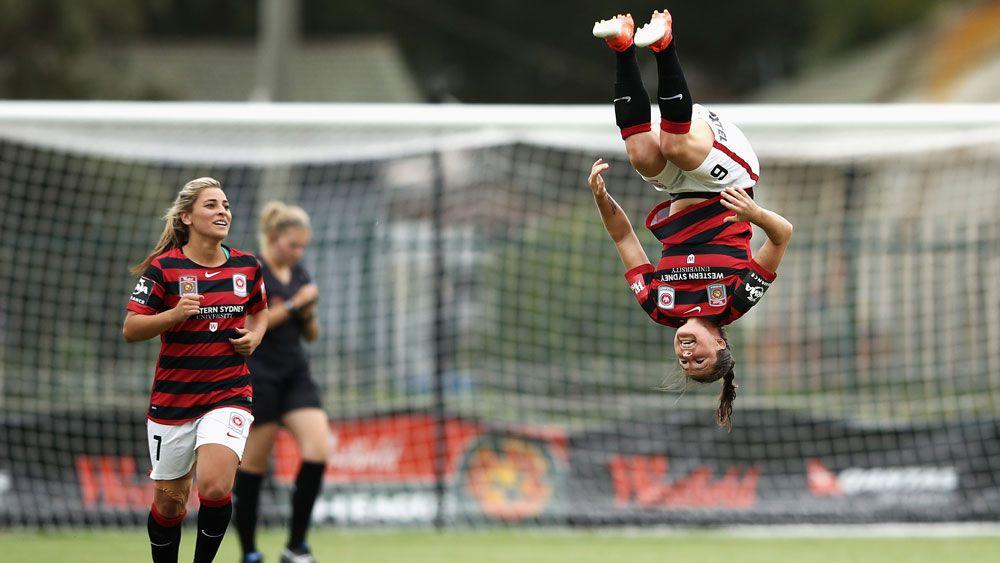 Western Sydney Wanderers' Kendall Fletcher celebrates after scoring against Melbourne City. (Getty)