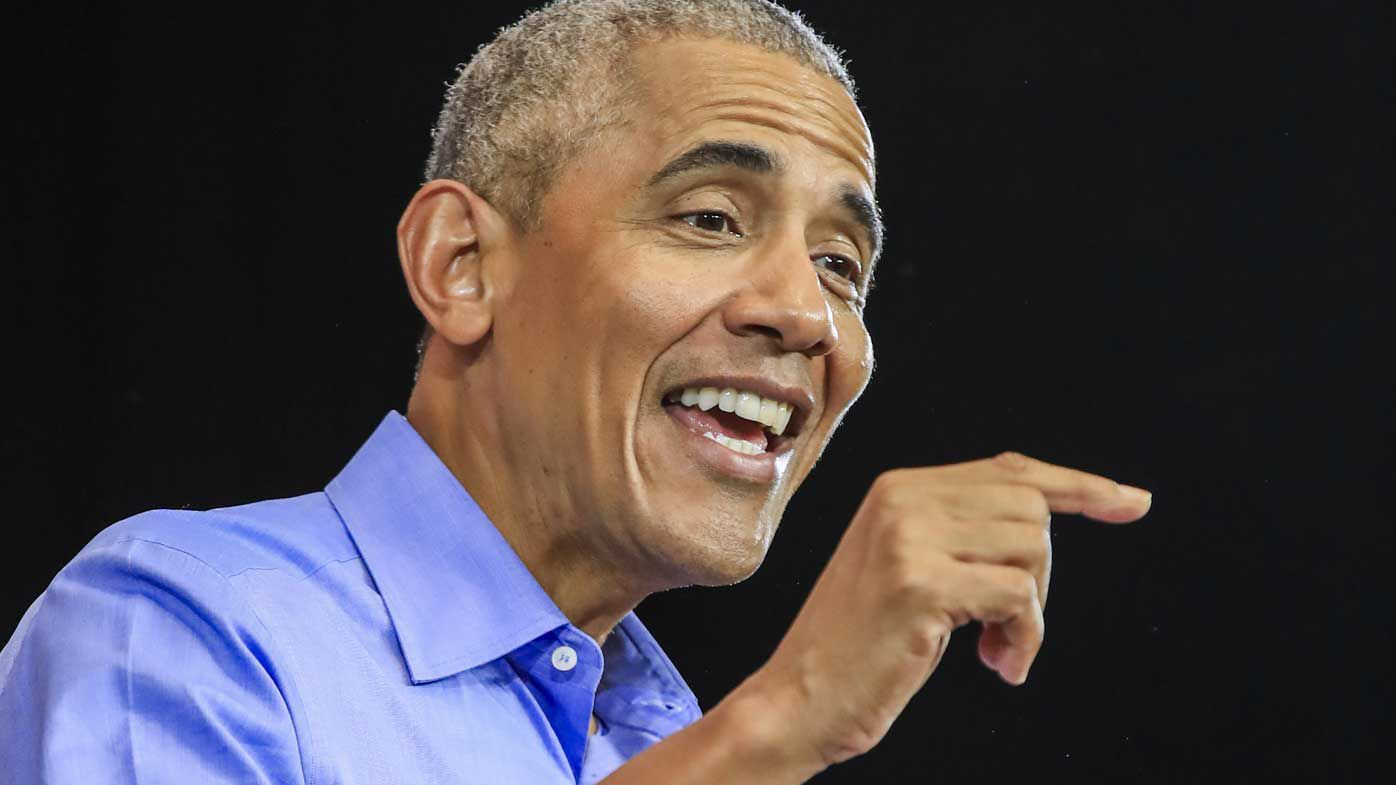 Barack Obama speaks at a rally in Milwaukee, Wisconsin.