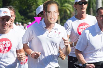 The prince ran a charity race in Rio De Janeiro to promote the London 2012 Olympics and Brazil's 2016 Games ... wearing a mask of his brother Wills. Cheeky cheeky!