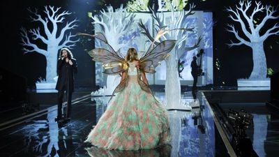 A model shows off the back of her elaborate costume at the annual Victoria's Secret Fashion Show in London. (AAP)