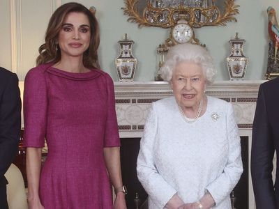 Queen Rania with Queen Elizabeth, 2019