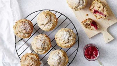 "Recipe:&nbsp;<a href=""https://kitchen.nine.com.au/2017/02/16/12/42/i-quit-sugars-jam-donut-muffins"" target=""_top"">Jam donut muffins</a>"
