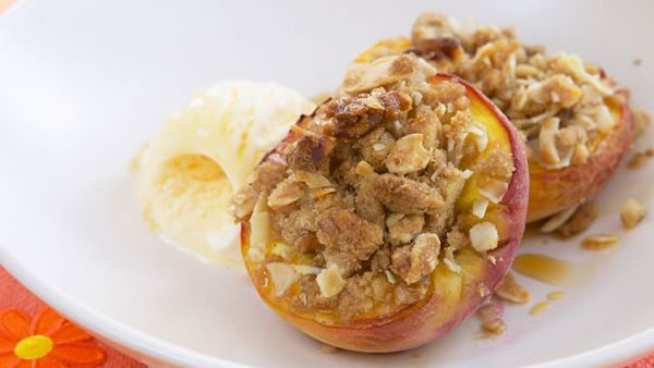 Walnut and cinnamon baked peach halves