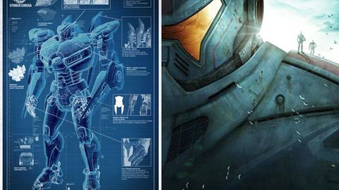 The blueprint for an Australian robot; The poster for Guillermo del Toro's Pacific Rim.