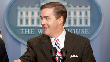 Steve Scully appears at a ribbon-cutting ceremony for the James S. Brady Press Briefing Room at the White House in Washington on July 11, 2007.  (AP Photo/Ron Edmonds, File)