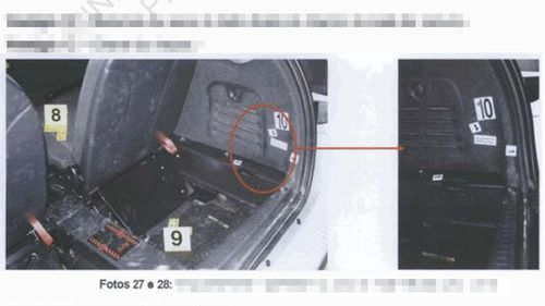 Official police photographs documenting where dogs searched in the McCann rental car, and where DNA samples were taken from.
