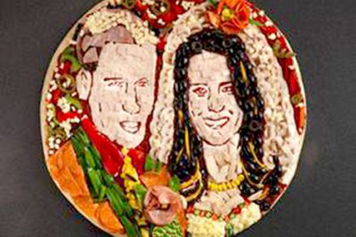 UK pizza chain, Papa John's, created this Kate and Wills pizza in celebration of the Royal wedding.