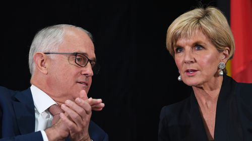 Prime Minister Malcolm Turnbull and Foreign Minister Julie Bishop at the White Paper launch. (AAP)