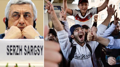 Yerevan residents celebrate Armenian Prime Minister's Serzh Sargsyan's (left) resignation in Yerevan, Armenia. (AAP)