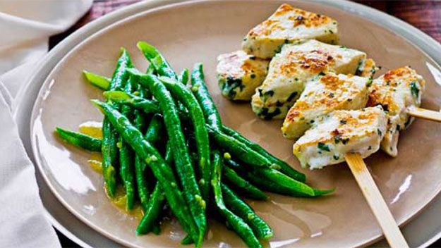 Swordfish kebabs with wasabi snake beans & rice