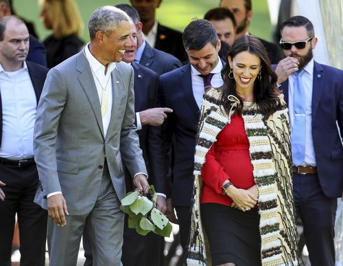 Barack Obama met with New Zealand Prime Minister Jacinda Ardern during his three-day visit. (AAP)