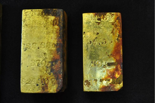 Thompson found coins that were minted from gold bricks found on the S.S Central America.