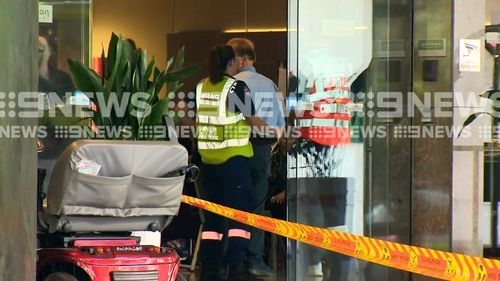 Emergency workers treated up to 30 people at the hotel, with eight rushed to nearby hospitals. (9NEWS)