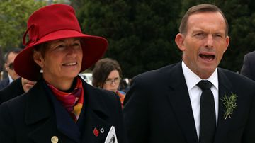 Margie and Tony Abbott at the 57th Turkish Regiment cemetery and memorial site at Gallipoli. (AAP)