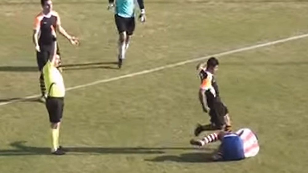 Footballer kicks rival in the head after red card