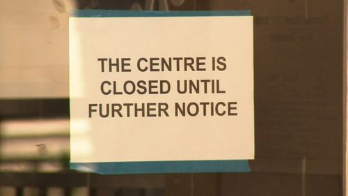 """Unicare Childhood Education in Crawley is """"closed until further notice"""", according to a sign on the door."""