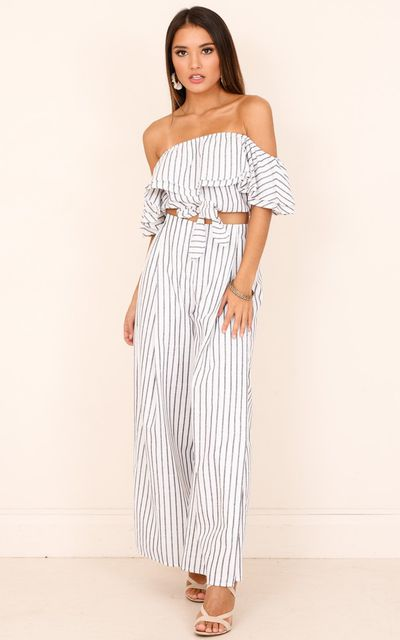 "<p><a href=""https://www.showpo.com/count-your-lucky-stars-two-piece-set-in-white-stripe"" target=""_blank"" draggable=""false"">Showpo Count Your Lucky Stars Two Piece Set in White Stripe, $79.95</a></p>"