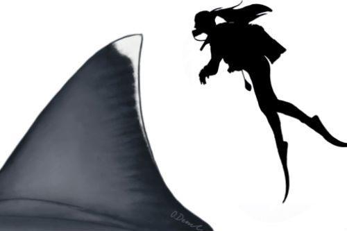 An artist's depiction of a human beside a megalodon shark's fin.