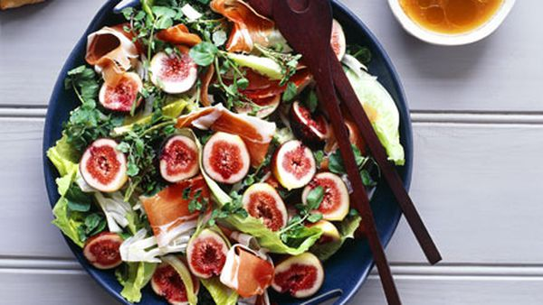 Fig, prosciutto, pear and witlof salad with pomegranate vinaigrette