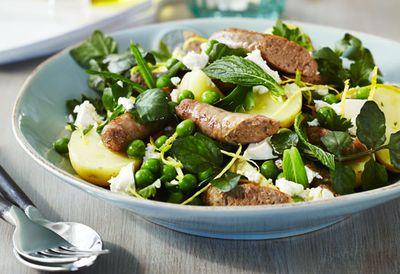 Minty lamb sausage salad