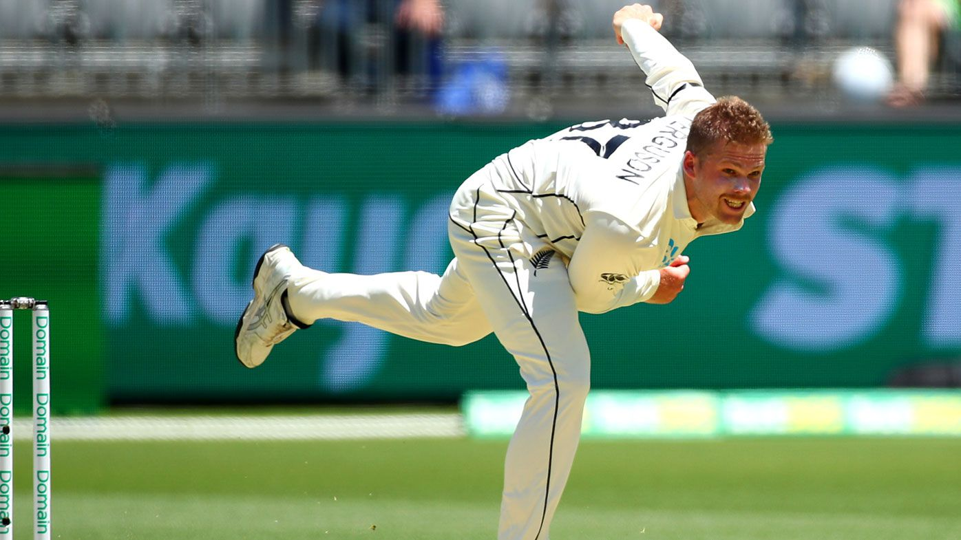 Lockie Ferguson bowls during day one of the First Test match between Australia and New Zealand