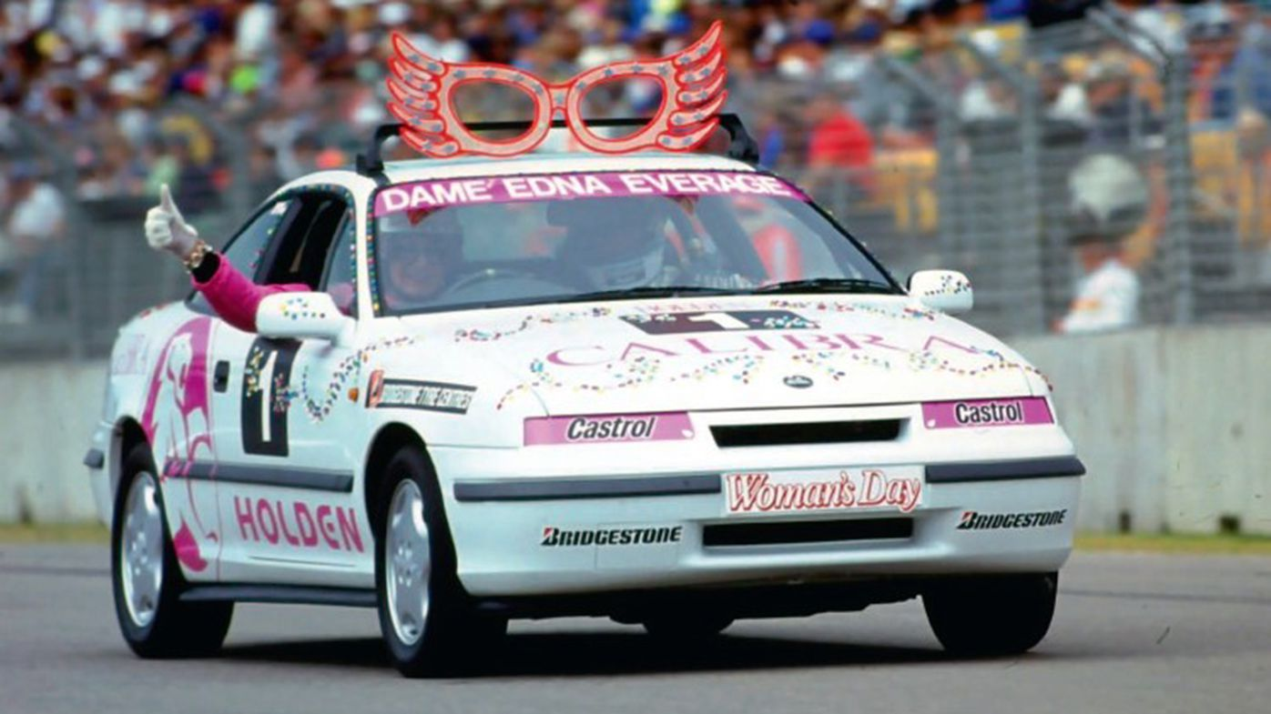 Dame Edna Everage, with Neil Crompton in the passenger seat, during the celebrity race at the 1993 Australian Grand Prix.