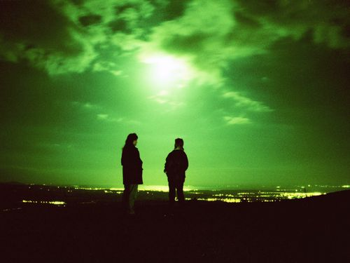 UFO spotters looking out over the Forth Valley in central Scotland where unexplained sightings are said to be frequent in Bonnybridge, Stirlingshire