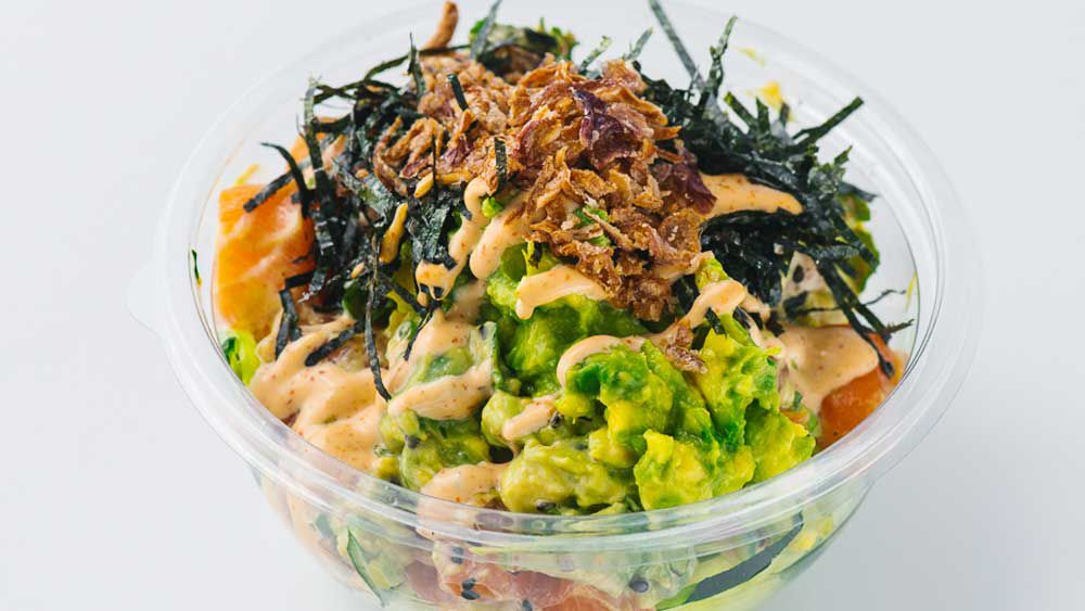 Poku's kingfish, hijiki and avocado poke bowl