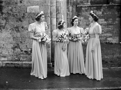 The then Princess Elizabeth stands with other bridesmaids at the wedding  of Captain Lord Brabourne and Patricia Mountbatten, 1946.