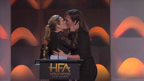 Kate Winslet kisses Allison Janney at the 2017 Hollywood Film Awards