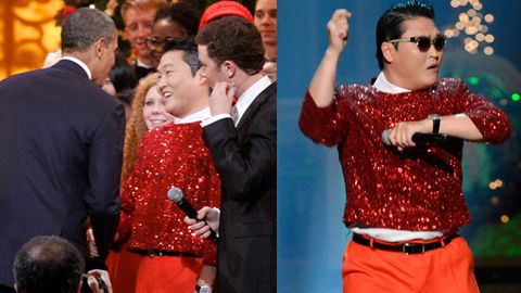 Christmas Style: Psy meets President Obama dressed like a Christmas ornament