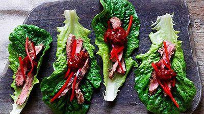 """<a href=""""http://kitchen.nine.com.au/2016/05/05/13/28/dinner-ladies-korean-skirt-steak-with-gingerspring-onion-dipping-sauce"""" target=""""_top"""">Dinner Ladies' Korean skirt steak with ginger-spring onion dipping sauce</a> recipe"""