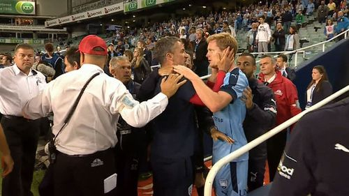 Sydney player Matt Simon was the first to react to the incident.