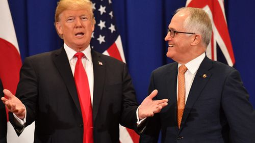 Donald Trump and Malcolm Turnbull met one-on-one in Manila. (AAP)