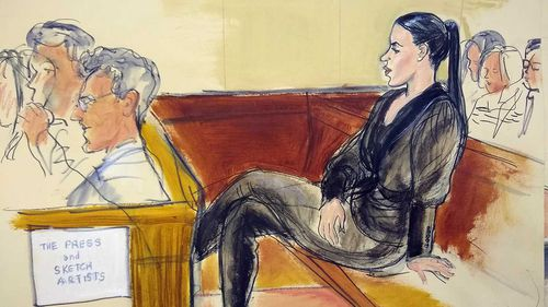 A courtroom sketch of Emma Coronel Aispuro during El Chapo's trial.