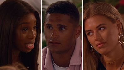 Danny is forced to explain himself to Yewande after lying to her about his connection with Arabella on Love island UK.